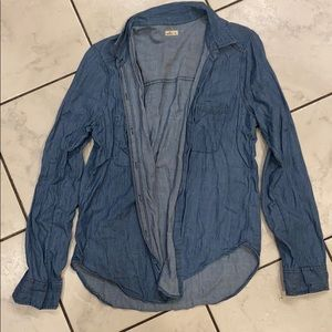 Hollister Denim Button Up Pocket Top